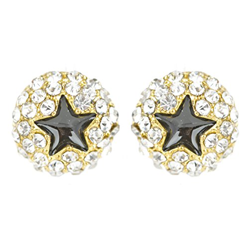 ACCESSORIESFOREVER Dazzling Crystal Rhinestone Star Round Fashion Stud Post Earrings E1194 Gold by Accessoriesforever (Image #5)