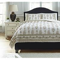 Ashley Furniture Signature Design - Almeda Reversible Coverlet Set - Includes Coverlet & 2 Shams - Queen Size - Beige