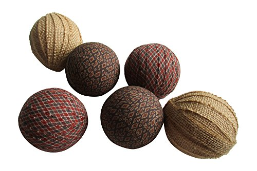 Fabric Vases (Rag Balls - Primitive Fabric Rag Balls - Burlap, Brown, Tan and Creme Bowl Fillers 2.5