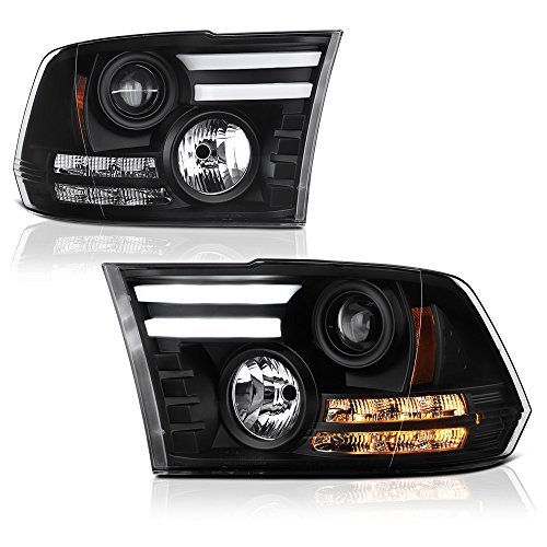 2019 Projector Headlights - [Exclusive Tribal Edition] VIPMOTOZ Premium OLED Tube Black Projector Headlight Lamp Assembly For 2009-2018 Dodge RAM 1500 2500 3500 Pickup Truck, Driver & Passenger Side