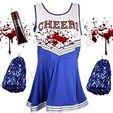 Blue Planet Fancy Dress ® Childrens Kids Zombie Cheerleader Fancy Dress Costume & Fake Blood (Large 10-12 years)