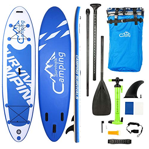 "PEXMOR Paddle Boards 10'10"" x 32"" x 6"" Stable Wide Stance Inflatable Stand Up SUP with Storage Bag, Floated Paddle, Hand Pump with PSI Gauge, Removable Fin and Leash for Water Sports"