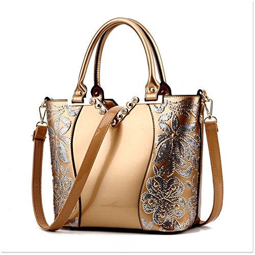 (G-AVERIL) Borsa 4Colour Bauletto da Donna Elegante con Manici e Tracolla in pelle Oro1