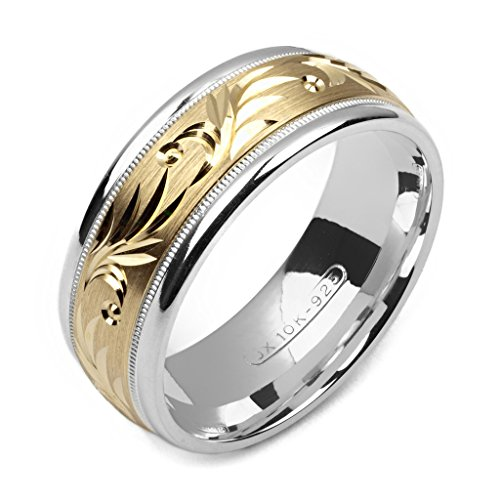 Alain Raphael 2 Tone Sterling Silver and 10k Yellow Gold 8 Millimeters Wide Wedding Band - Two Gold Band Wedding Sets Tone