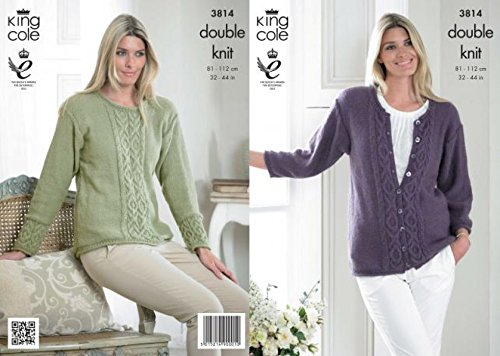 King Cole Ladies Sweater & Cardigan Baby Alpaca Knitting Pattern 3814 (Knitting Patterns Alpaca Yarn)