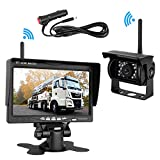 5th wheel rv backup camera - Emmako Built-in Wireless Backup Camera and 7'' Display Monitor Kit Reverse Camera System Distance Over 100 ft Waterproof Night Vision Parking Camera for Truck/RV/Trailers/5th Wheel