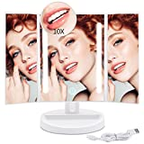 LED Lighted Makeup Mirror with 10X Magnification - Okiss Touch Screen 180 Degree Rotation Auto Off Dual Power Supply Dimmable Portable Compact Travel Trifold Vanity Mirror