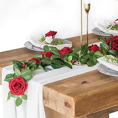 Ling's moment Artificial Dark Rose Flower Arrangements Table Centerpieces for Wedding Party Bridal Shower Home Decor