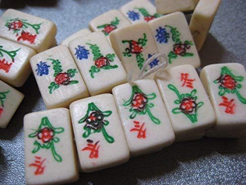 Camel Bone Mahjong Mini Tiles Beads Side Drilled 10pcs #ID-231