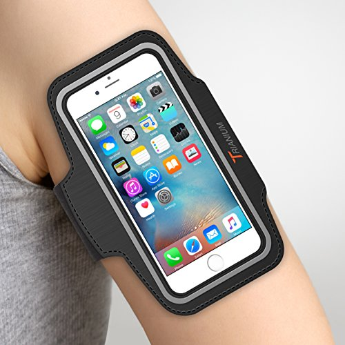 "Trianium Armband for Smaller Phone Sport Running Pouch Case Fit Phone Diagonal Size up to 5.85"" for iPhone X 8 7 6s 6, iPhone SE 5S 5 5C, Galaxy s9 s8 s7 s6 s5 [ArmTrek Classic Black]"