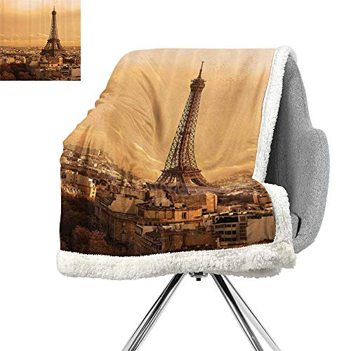 Eiffel Tower Decor Collection Digital Printing Blanket,Sunset Old Buildings Tower Rooftop Vacation Honeymoon Journey Monochromatic Image,Ivory Cream,Lightweight Thermal Blankets W59xL78.7 Inch