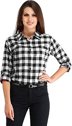 619b6bc7 women Black-white big check shirt (Cotton/Rayon): Amazon.in: Clothing &  Accessories
