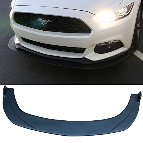 Front Bumper Lip Fits 2015-2017 Ford Mustang | Black PP Front Lip Finisher Under Chin Spoiler Add On by IKON MOTORSPORTS | 2016