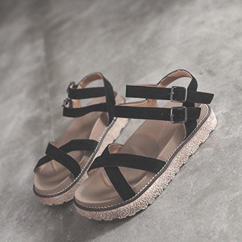 Mujer Sandalias Tobillo Tacones Vintage Calzado Chancletas Para 0OnwPk8