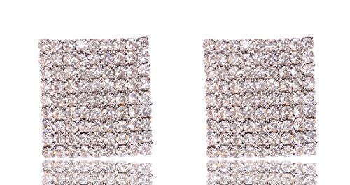 (MISASHA Celebrity Designer Big Square Shape Encrusted Rhinestone Earrings Studs (silver))
