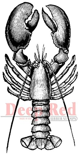 Deep Red Stamps Lobster Rubber Stamp