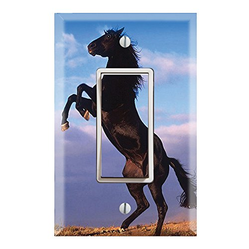 Single Rocker Wall Switch/Outlet Cover Plate Decor Wallplate - Animal Mustang (Decor Switchplate)