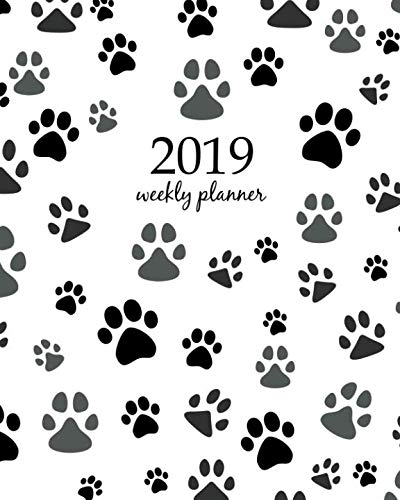 2019 Weekly Planner: Calendar Schedule Organizer and Journal Notebook With Inspirational Quotes And Paw print seamless. Traces of Cat Textile Pattern. Cat footprint seamless pattern. Vector seamless