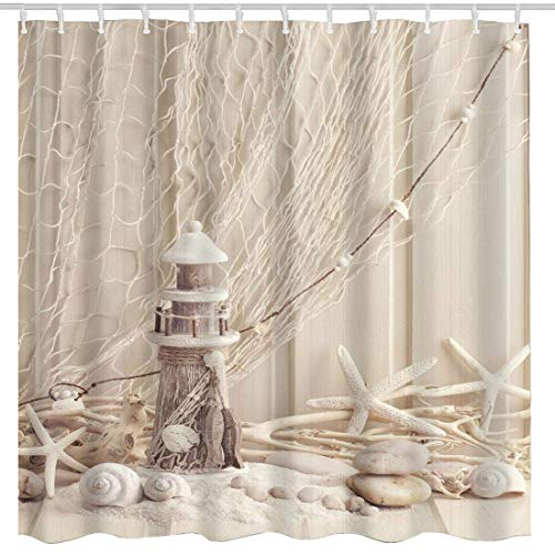 BROSHAN Nautical Seashell Decor Shower Curtain Fabric,Coastal Sea Shell Fishing Net Marine Ocean Beach Theme Wooden Lighthouse Starfish Bath Curtain Fabric Bathroom Accessories Set,72 x 72 Inch,Beige by BROSHAN