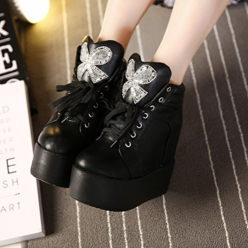 Encaje con Zapatillas con Zapatos Gruesos Al Final Del Aumento en Los Zapatos de Tacón Alto , blanco , EUR 35.5