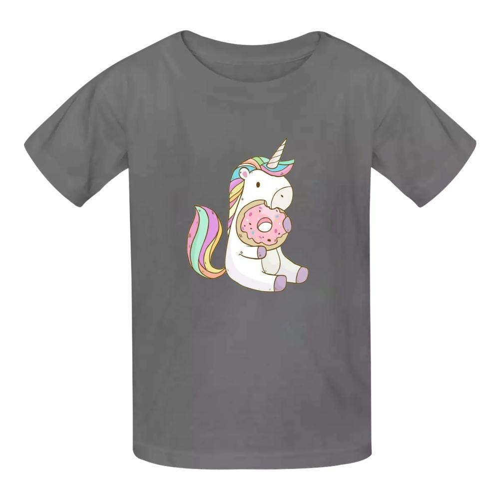Unicorns Eating Donuts Boys Summer Slim Fit Pure Color Short Sleeve Casual T-Shirts
