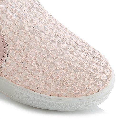 Amoonyfashion Damesmengeling Materialen Lage Hakken Ronde Gesloten Teen Stevige Aantrek Pumps-schoenen Roze