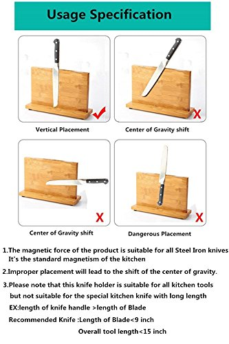 Bamboo Knife Blocks,Knife Block rack magnetic, Double side super magnetic,Non-slip design,8 inch,12inch,14inch,Different sizes for your selection Without Knives (14 inch) by non branded (Image #4)