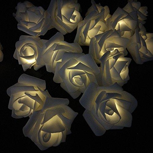 33ft 10M Solar Wedding Decorations Lights Rose Shape 60 LEDs Party String Light For Christmas Wedding Halloween Patio Party Light Strings Solar Powered (Warm White) (Decoraciones Halloween Jardin)