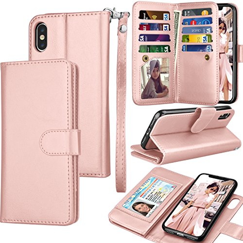 Tekcoo For iPhone X Wallet Case,Tekcoo iPhone X PU Leather Case, Luxury [Rose Gold] License Cash ID Credit Card Slots Holder Carrying Flip Cover [Detachable Magnetic Hard Case] & Kickstand + Lanyard