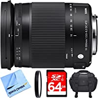 Sigma 18-300mm F3.5-6.3 DC Macro OS HSM Lens (Contemporary) for Nikon DX Cameras includes Bonus Sigma Close-Up Lens and More
