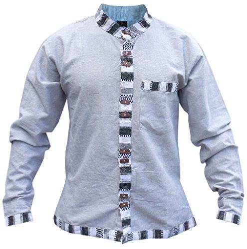 Little-Kathmandu-Mens-Cotton-Hemp-Button-Down-Funky-Summer-Grandad-Shirt