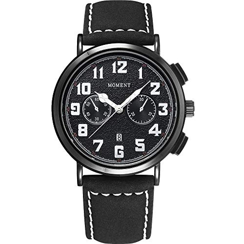 Leather Band Watch for Men Waterproof Luxury Classic Analog Quartz Big Wrist Watch Stainless Steel Business Work Watch Calendar Date Window,Gift Black Nylon Strap