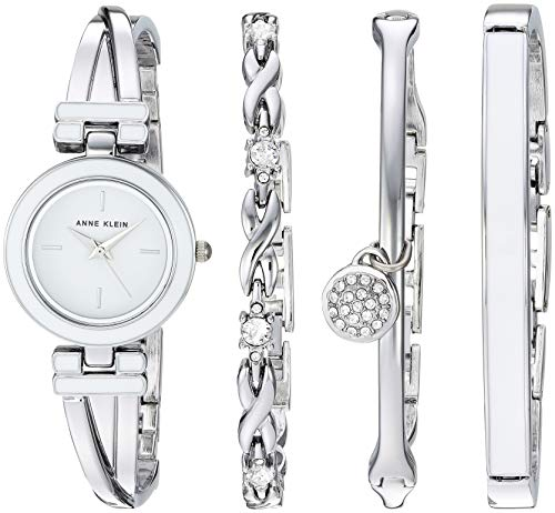 (Anne Klein Women's AK/3285WTST White and Silver-Tone Bangle Watch and Swarovski Crystal Accented Bracelet Set)