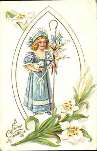 Girl Holding a Lamb With Children Original Vintage Postcard ()