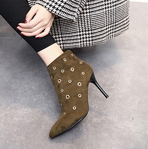 Tip Side Satin Heeled 9Cm Zipper Rivets 39 Green Detail Round Ladies Boot Winter Hole With Boots New KHSKX High znSFR0qwn8