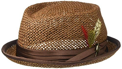 Brixton Men's Stout Short Brim Straw Pork Pie Fedora HAT, Brown, ()