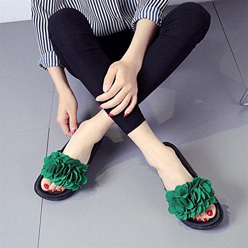 Colore Tacco Scarpe Pantofola Fiore Round Spiaggia Verde Sandali