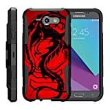 TurtleArmor   Compatible for Samsung Galaxy J3 Emerge Case   J3 (2017) [Octo Guard] Dual Layer Case Holster Belt Clip Sturdy Kickstand Cover - Red Dragon