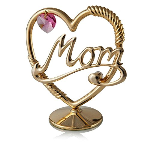 Matashi Crystal Studded Mom in A Heart Ornament, Gold Plated with Pink