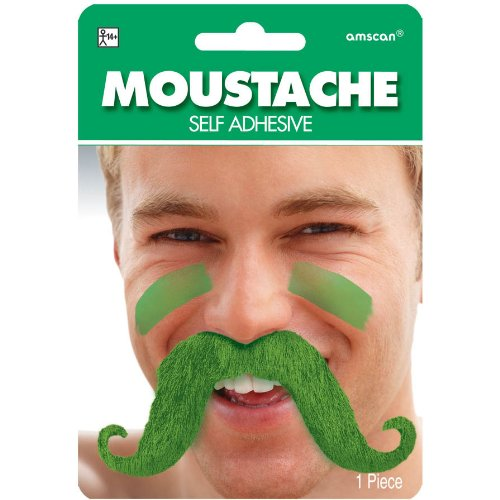 Fake Moustache,Green by Amscan