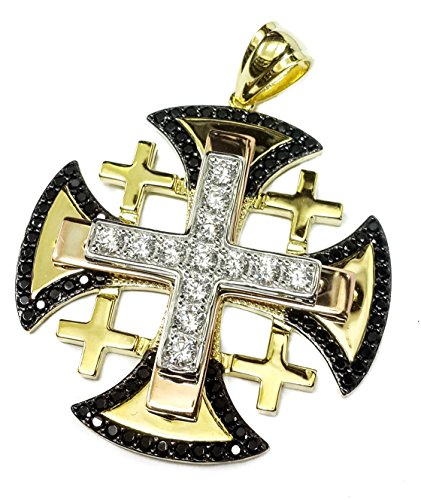 Jerusalem Cross Silver 925 Gold Plated 18 k Black White Crystallized Elements 1.8'' by Nazareth Store