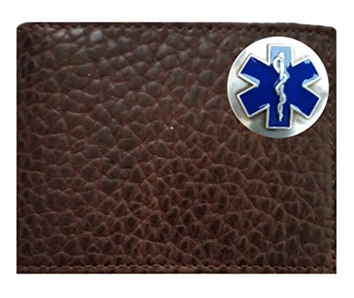 Cross Flip Proudly Brown on the fold a in American Concho of EMT Leather Life EMS Buffalo ID Wallet USA Custom Chocolate Rugged Bi made 67EqHT