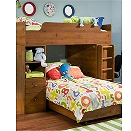 Amazon Com Sunny Pine Twin Over Twin L Shaped Bunk Bed Storage Bed