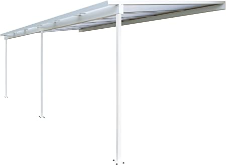 Top Prix Pérgola de aluminio para fijar al techo, de policarbonato (10 mm) con canaleta, color blanco, color Blanc ral 9016, tamaño 6000 x 3000 mm: Amazon.es: Jardín