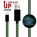 iPhone Cables,AoLiPlus Visible Flowing EL Light LED Lightning to USB Cable 8-Pin Data Sync Cord for iPhone 7/7 Plus/ 6/ 6 Plus/ 6s/ 6s Plus /5/5s/SE iPad/iPod/Beats Pill+ and More,1.2M(Green)