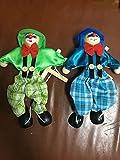 SPARIK ENJOY 2 Packs Clown Hand Marionette Puppet Children's Wooden Marionette Toys Colorful Marionette Puppet Doll Parent-Child Interactive Toys- Green and Blue