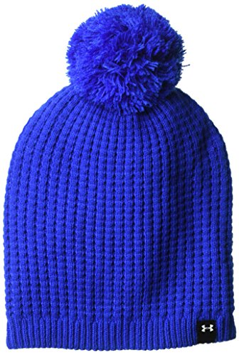 Under Armour Womens Armour Favorite Waffle Pom Beanie, Lapis Blue (984)/White, One Size
