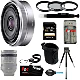 Sony SEL16F28 SEL-16F28 Interchangeable Alpha E-mount 16mm F2.8 Lens (Silver) for NEX Camera + Sony 16GB SD Card + Tiffen 49mm Photo/Video Essentials Filter Kit + Small Neoprene DSLR Case + Accessory Kit