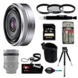 Sony SEL16F28 SEL-16F28 Interchangeable Alpha E-mount 16mm F2.8 Lens (Silver) for NEX Camera + Sony 16GB SD Card + Tiffen 49mm Photo/Video Essentials Filter Kit + Small Neoprene DSLR Case + Accessory Kit Review