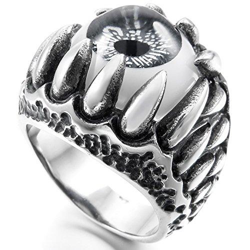 INBLUE Men's Stainless Steel Ring Silver Tone Black Grey White Skull Dragon Claw Evil Devil Eye